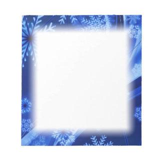 青い冬の雪片のクリスマス ノートパッド