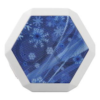 青い冬の雪片のクリスマス ホワイトBluetoothスピーカー