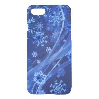 青い冬の雪片のクリスマス iPhone 8/7 ケース