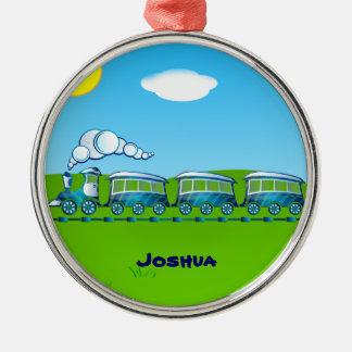 青い列車のテンプレート シルバーカラー丸型オーナメント
