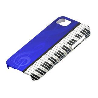 青い効果の音符が付いているピアノ鍵 iPhone SE/5/5s ケース