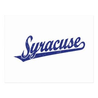 青い動揺してのシラキュースの原稿のロゴ 葉書き