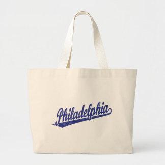 青い動揺してのフィラデルヒィアの原稿のロゴ ラージトートバッグ