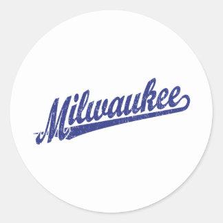 青い動揺してのミルウォーキーの原稿のロゴ ラウンドシール