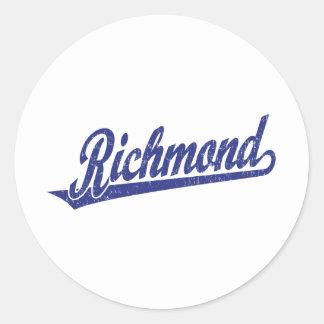 青い動揺してのリッチモンドの原稿のロゴ ラウンドシール