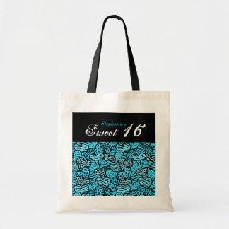 青い動物パターンハートの菓子16のバッグ トートバッグ