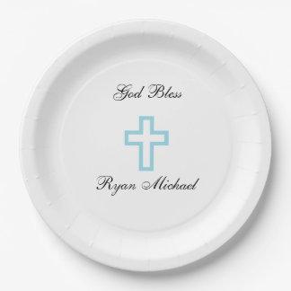 青い十字の名前入りな紙皿 ペーパープレート