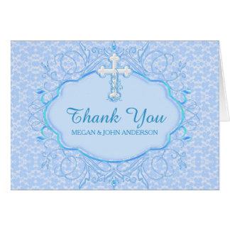 青い十字の洗礼の《キリスト教》洗礼式や命名式のサンキューカード カード