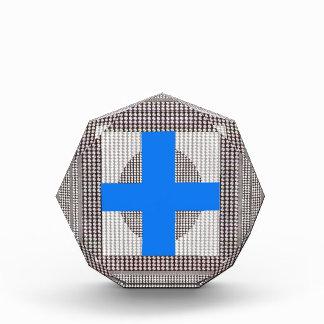 青い十字の輝きの白い水晶はギフトのchrに玉を付けます 表彰盾