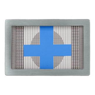 青い十字の輝きの白い水晶はギフトのchrに玉を付けます 長方形ベルトバックル