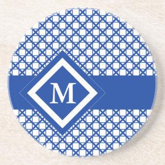 青い十字形及び箱の幾何学的なパターン コースター