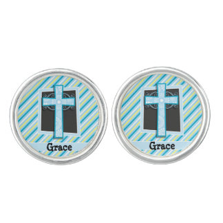青い十字、青及び黄色のストライプ カフボタン