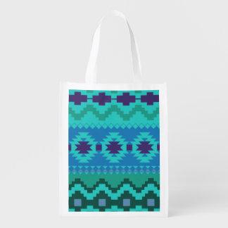 青い南西パターン-西部の抽象美術 エコバッグ
