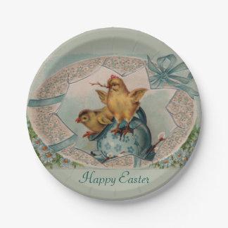 青い卵およびひよこのイースター紙皿 ペーパープレート