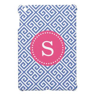 青い及びショッキングピンクのギリシャ人の鍵のカスタムのモノグラム iPad MINIカバー
