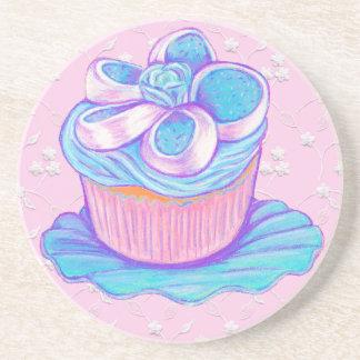 青い及びピンクのカップケーキのコースター コースター