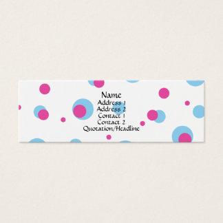青い及びピンクの水玉模様のプロフィールカード スキニー名刺
