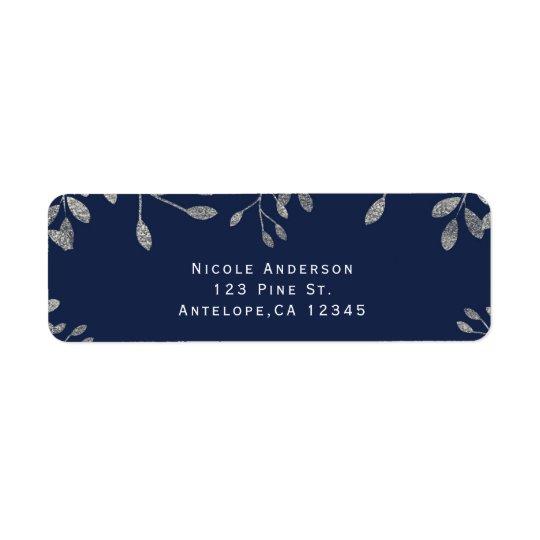 青い及び銀製の植物のモダンな結婚式招待状 返信用宛名ラベル