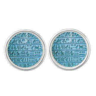 青い古代エジプトのヒエログリフ カフスリンク