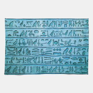 青い古代エジプトのヒエログリフ キッチンタオル