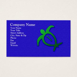 青い名刺のハワイアンのHonuの岩石彫刻 名刺
