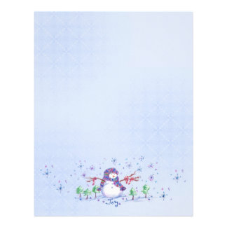 青い喜びの雪だるまのクリスマスの休日の雪片 レターヘッド