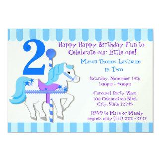 青い回転木馬の子馬の第2誕生会 カード