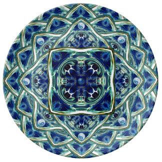 青い地球および空の曼荼羅の磁器皿 磁器プレート