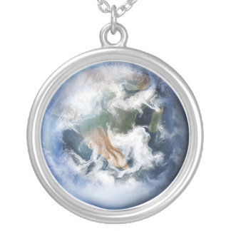 青い地球-ネックレス シルバープレートネックレス