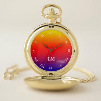 青い壊中時計へのモノグラムのストライプのな黄色 ポケットウォッチ