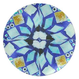 青い多彩のモザイクプレート プレート