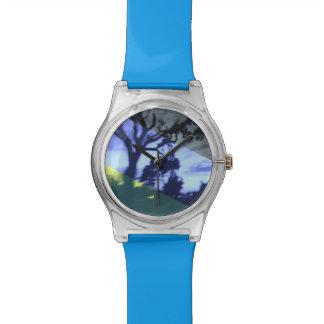 青い夜シルエットの腕時計 腕時計