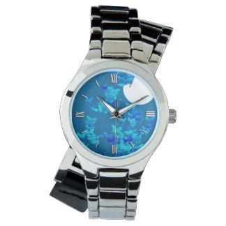 青い夜空、moonscapeに対する蝶 腕時計