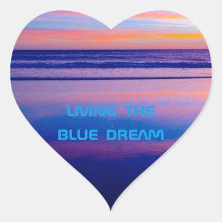 青い夢の日没サンタモニカ ハートシール