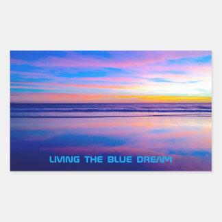 青い夢の日没サンタモニカ 長方形シール
