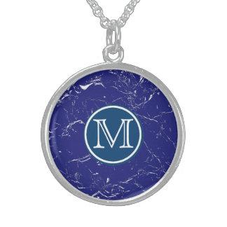 青い大理石のモノグラム スターリングシルバーネックレス