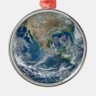 青い大理石の惑星の地球北アメリカメキシコ メタルオーナメント