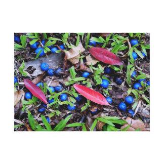 青い大理石の木フルーツ キャンバスプリント