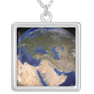 青い大理石の次世代の地球2 シルバープレートネックレス