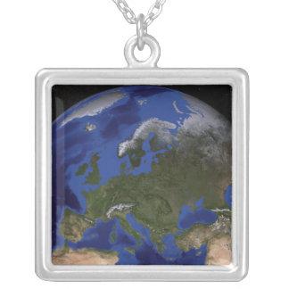 青い大理石の次世代の地球6 シルバープレートネックレス