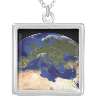 青い大理石の次世代の地球7 シルバープレートネックレス