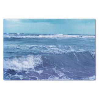 青い大西洋の波状雲の空の写真 薄葉紙