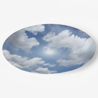 青い天国の雲 + あなたのアイディア ペーパープレート