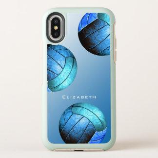 青い女性のバレーボールの名前をカスタムする オッターボックスシンメトリー iPhone X ケース