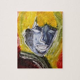 青い女性元の芸術のジグソーパズル ジグソーパズル