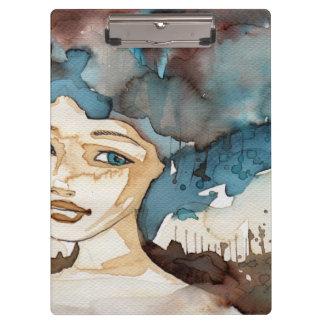 青い女性 クリップボード