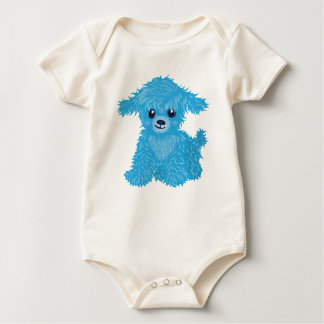 青い子犬の幼児オーガニックなクリーパー ベビーボディスーツ
