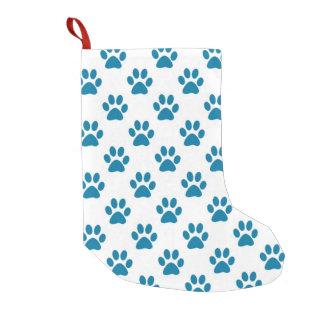 青い子犬の足のプリント スモールクリスマスストッキング