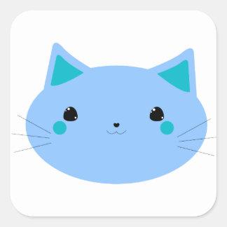 青い子猫のステッカー スクエアシール
