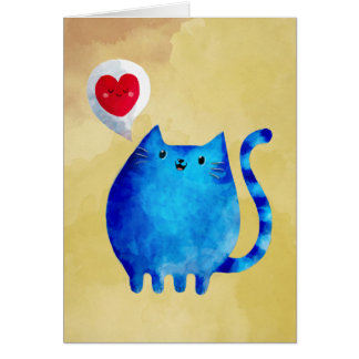 青い子猫猫の愛 カード